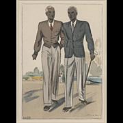 RARE Art Deco men's golf fashion print