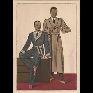 RARE Men's Art Deco fashion print