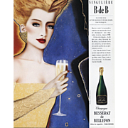 Original Vintage French Champagne Advertisement Print by RAZZIA