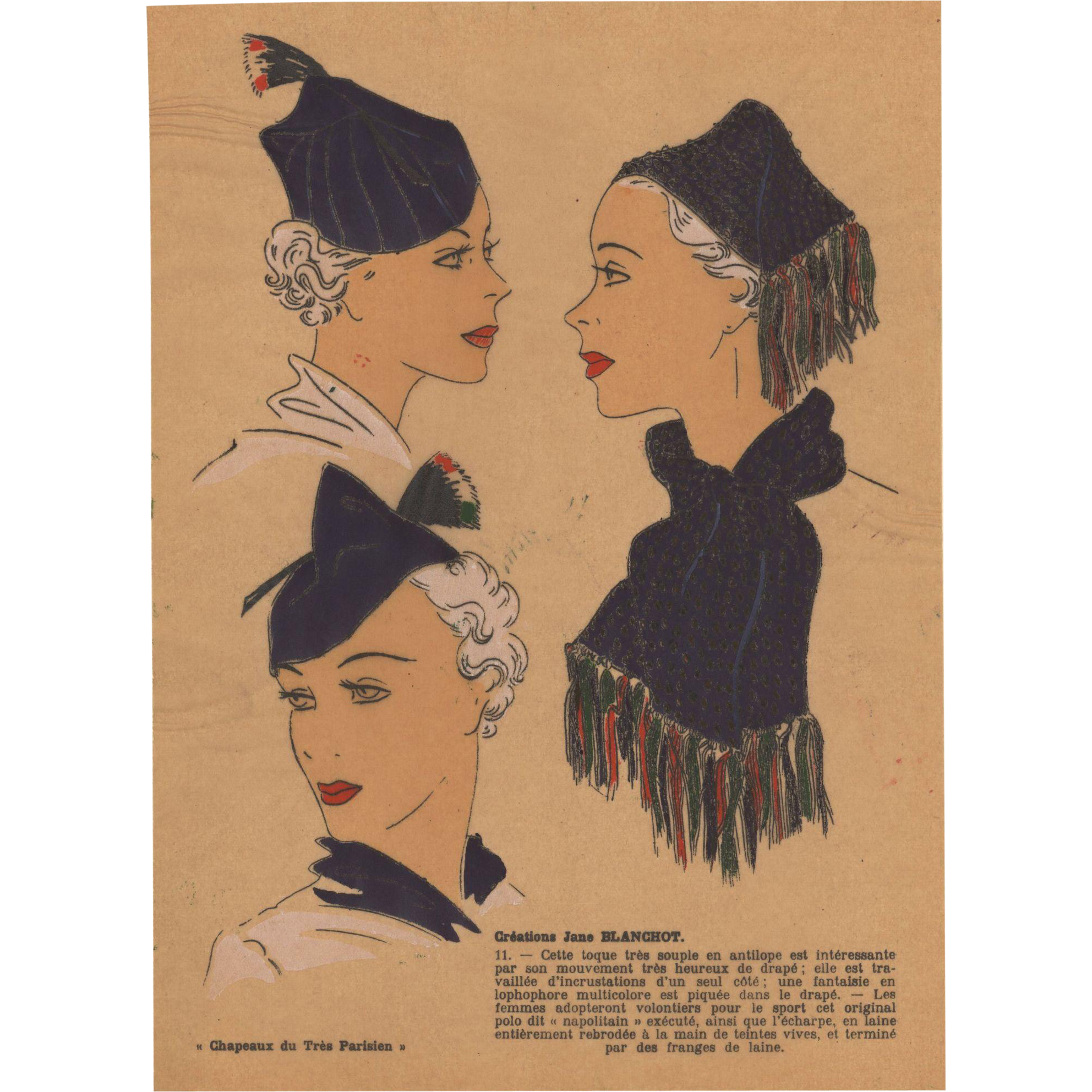 Vintage art deco 1936 hat fashion pochoir from for Pochoir technique