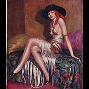 Original 1920's French Art Deco erotic woman