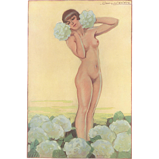 RARE beauty! Art Deco erotic nude print