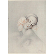 Original French Art Deco Semi-nude  Print