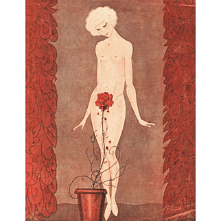 Sexy Art Deco Nude with a rose