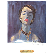 Original French Vintage Advertising  Print for Boucheron Jewelry