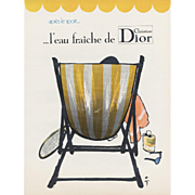 """Vintage French Dior """"after sport"""" (tennis) perfume advertisement print by Gruau"""
