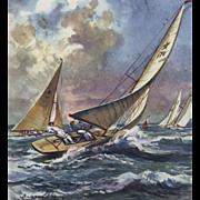 Vintage mid-century sailing print