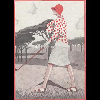 Art Deco Woman who Golfs