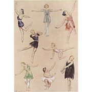 Pair of Ballet Dance Exercise Original Vintage French prints