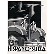 Original French Art Deco vintage car print for Hispano-Suiza Automobile by Kow