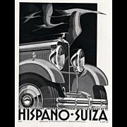 Hispano-Suiza Art Deco Vintage Automobile Print