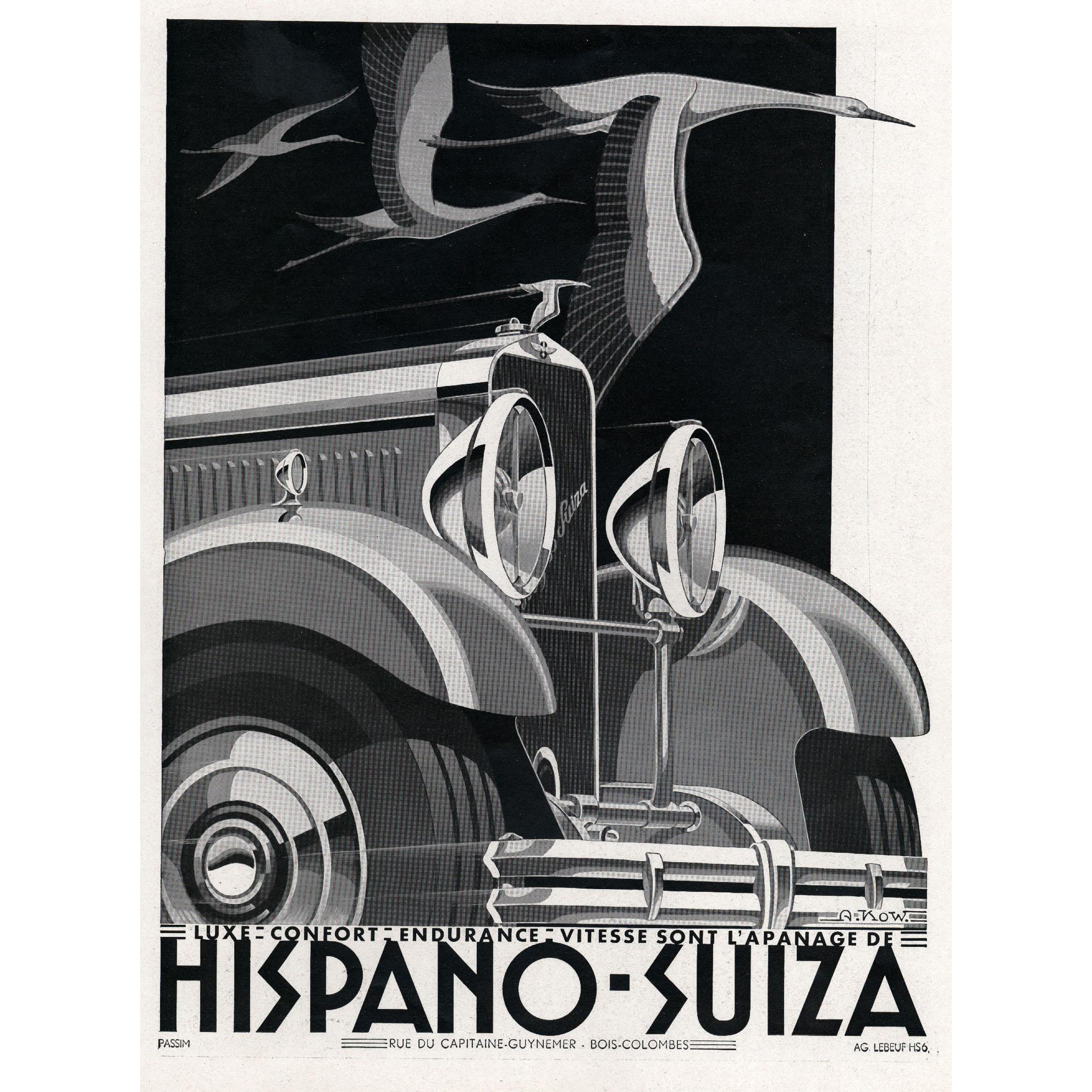 hispano suiza art deco vintage automobile print from yoshagraphics on ruby lane. Black Bedroom Furniture Sets. Home Design Ideas