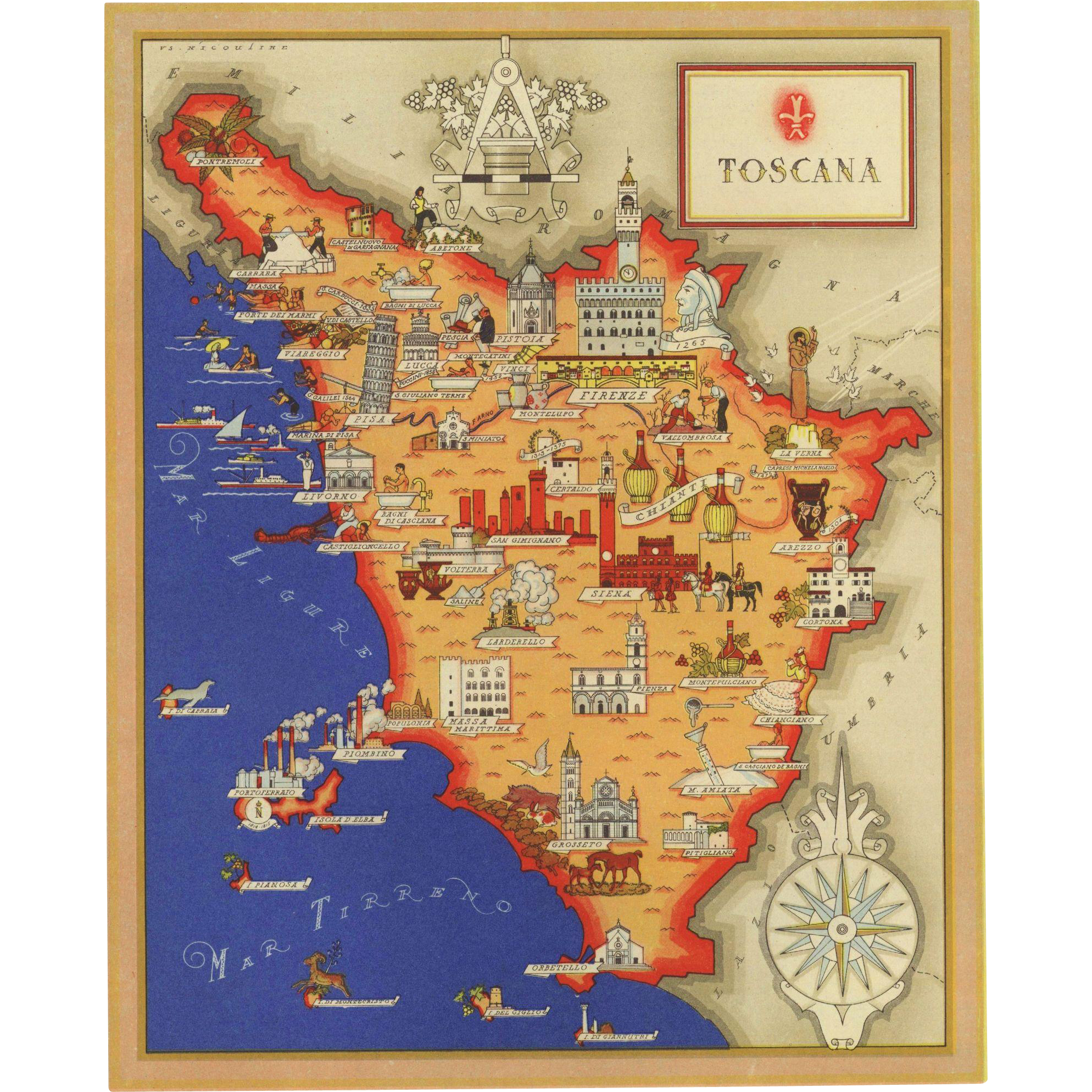 Original Vintage Pictorial Map Of Tuscany Italy From - Map tuscany