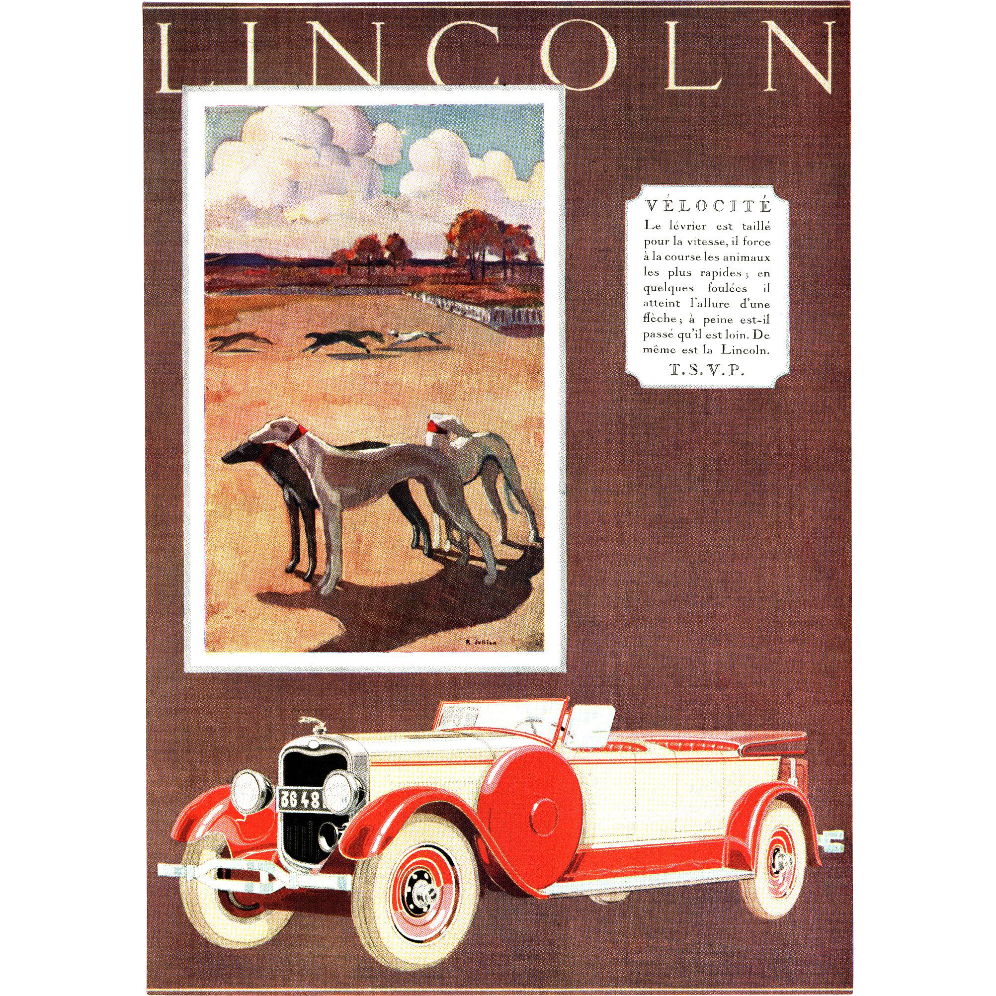 vintage 1920 39 s art deco lincoln automobile print from. Black Bedroom Furniture Sets. Home Design Ideas