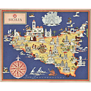Original Vintage Pictorial Map-Sicily