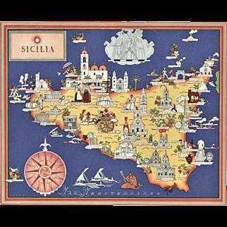 Original Vintage Pictorial Map-Sicily