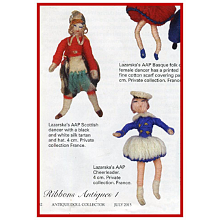 VERY RARE STEFANIA LAZARSKA'S A.A.P. fetishes/miniatures doll from the early 20's. Cheerleader girl. Creator and maker of Mme Padereski's dolls
