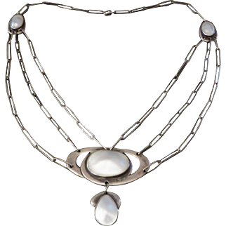 Superb Arts & Crafts Sterling Blister Pearl Festoon Necklace
