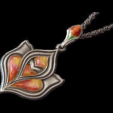 Antique Queensway Sterling Enamel Arts & Crafts Necklace