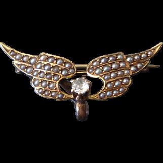 Tiny 14k Gold Krementz & Co. Wings Watch Pin w/ Pearls & Diamond