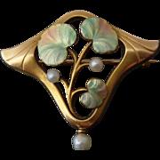 14k Gold Art Nouveau Lily Pad Brooch w/ Enamel & Freshwater Pearls