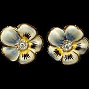 Gorgeous Sterling & Enamel Pansy Earrings
