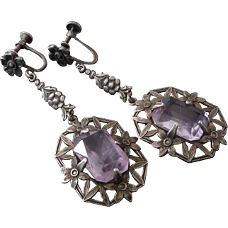 1920's Sterling & Rose Quartz Long Dangling Art Deco Earrings