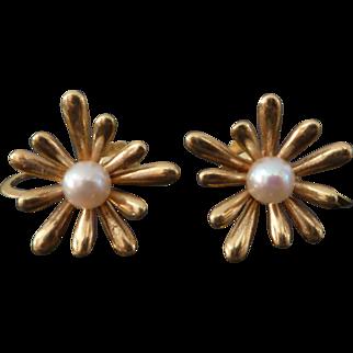 14k Gold Hermann Siersbol Scandinavian Modernist Earrings