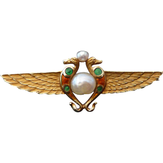 Antique 14k Gold Egyptian Revival Winged Serpent Brooch by Whiteside & Blank