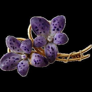 RESERVED Antique 14k Gold, Enamel, & Diamond Double Violet Brooch