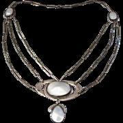Superb Antique Arts & Crafts Sterling Silver & Blister Pearl Festoon Necklace