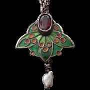 c.1900 Arts & Crafts Silver, Enamel, Garnet & Pearl Pendant Necklace