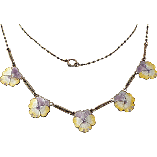 Vintage Sterling & Guilloche Enamel Pansy Necklace