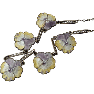 Vintage Sterling & Enamel Pansy Necklace