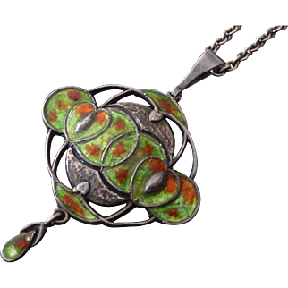 Exceptional Liberty & Co Art Nouveau Silver & Enamel Pendant Necklace