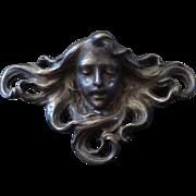 Antique Victor Mayer Jugendstil Art Nouveau Maiden Brooch