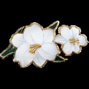 Sterling & Enamel BERMUDA Souvenir Pin, White Lilies
