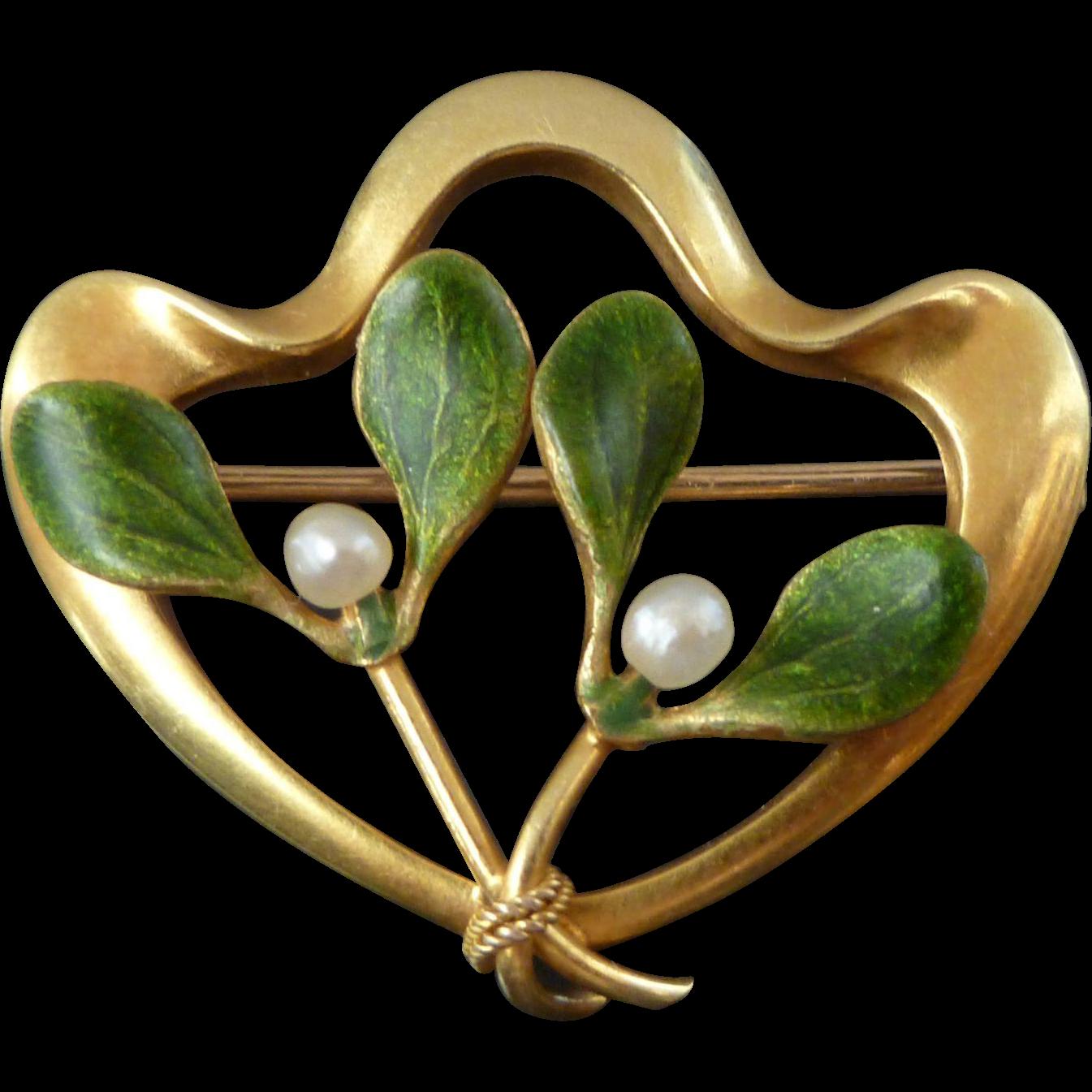 Antique Krementz 14k Gold Enamel Amp Pearl Mistletoe