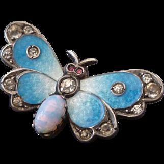 Gorgeous Antique Silver, Enamel, & Paste Butterfly Brooch