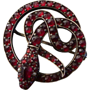 Antique Victorian Garnet Snake Brooch