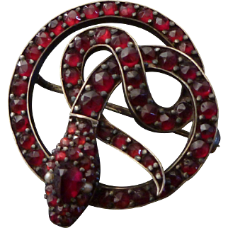 Antique Victorian Garnet Snake Brooch