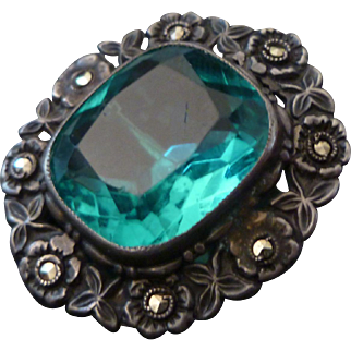 1920's Art Deco Sterling, Teal Glass, and Marcasite Brooch
