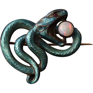 c.1900 Meyle & Mayer Silver Enamel Opal Jugendstil Snake Brooch