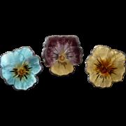 Tiny Vintage Sterling & Enamel Pansy Pins