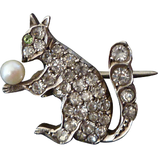 Tiny Antique Sterling & Paste Squirrel Brooch