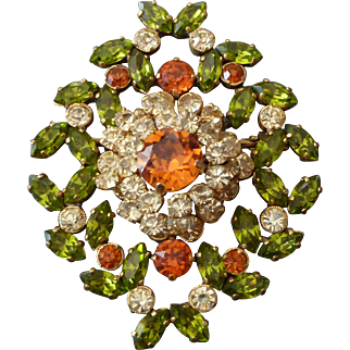 Gorgeous 1940's French Rhinestone Brooch