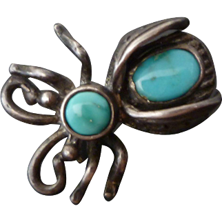Adorable Little Sterling & Turquoise Vintage Bug Pin