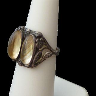 Unusual Arts & Crafts Sterling & Quartz Ring