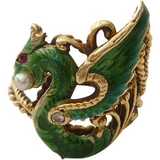 Spectacular 14k Gold & Enamel Griffin Stick Pin Conversion Ring