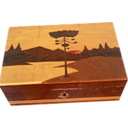 Arts and Crafts Period Box in the style of Galle inlaid wood